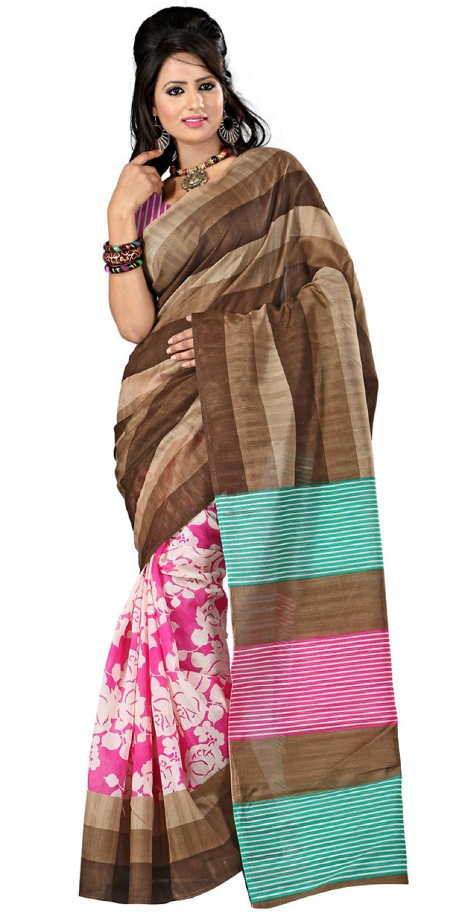 Buy Pretty Brown And Pink Bhagalpuri Silk Printed Saree With Blouse. Online