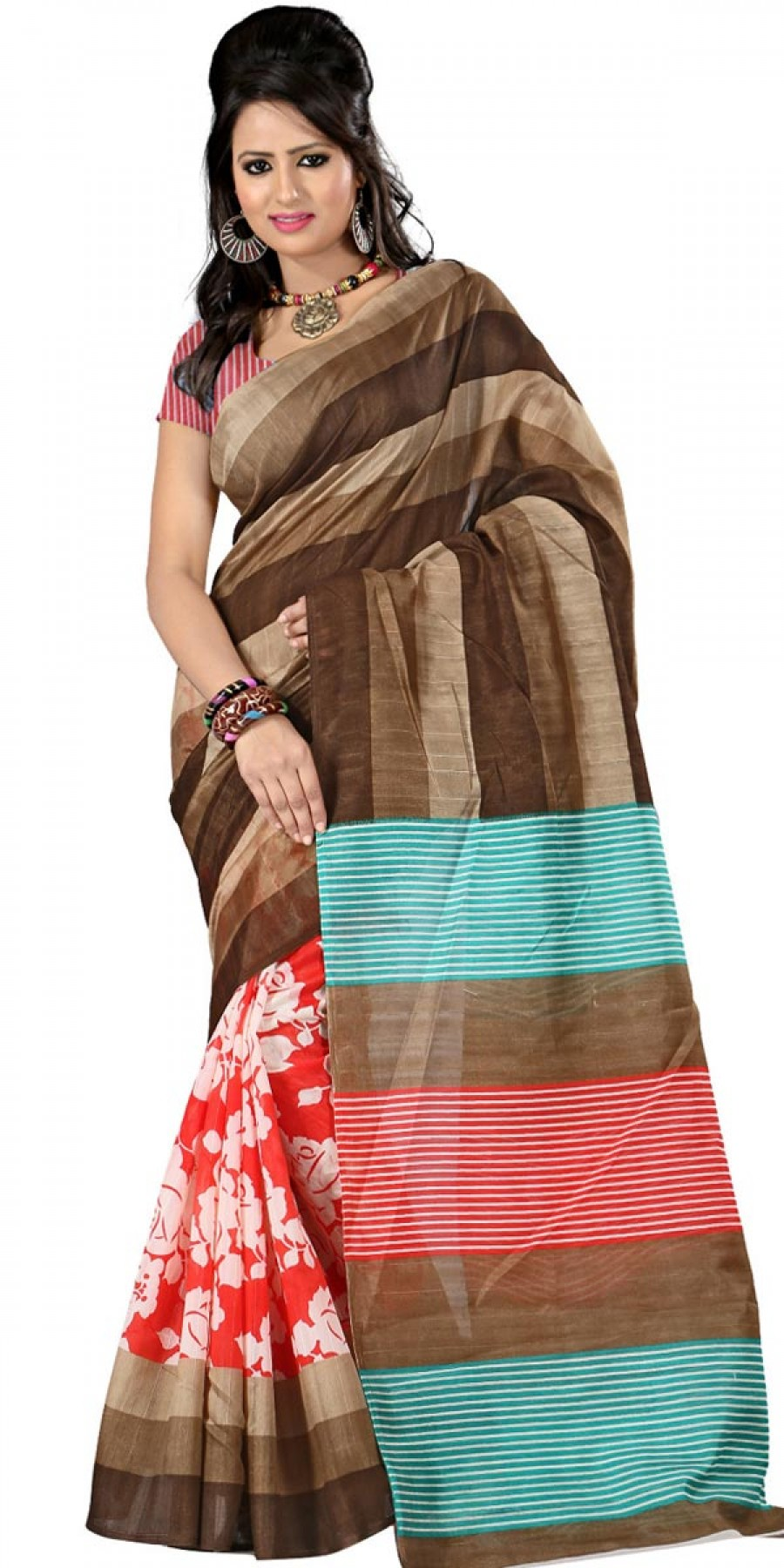Buy Classy Brown And Red Bhagalpuri Silk Printed Saree With Blouse. Online