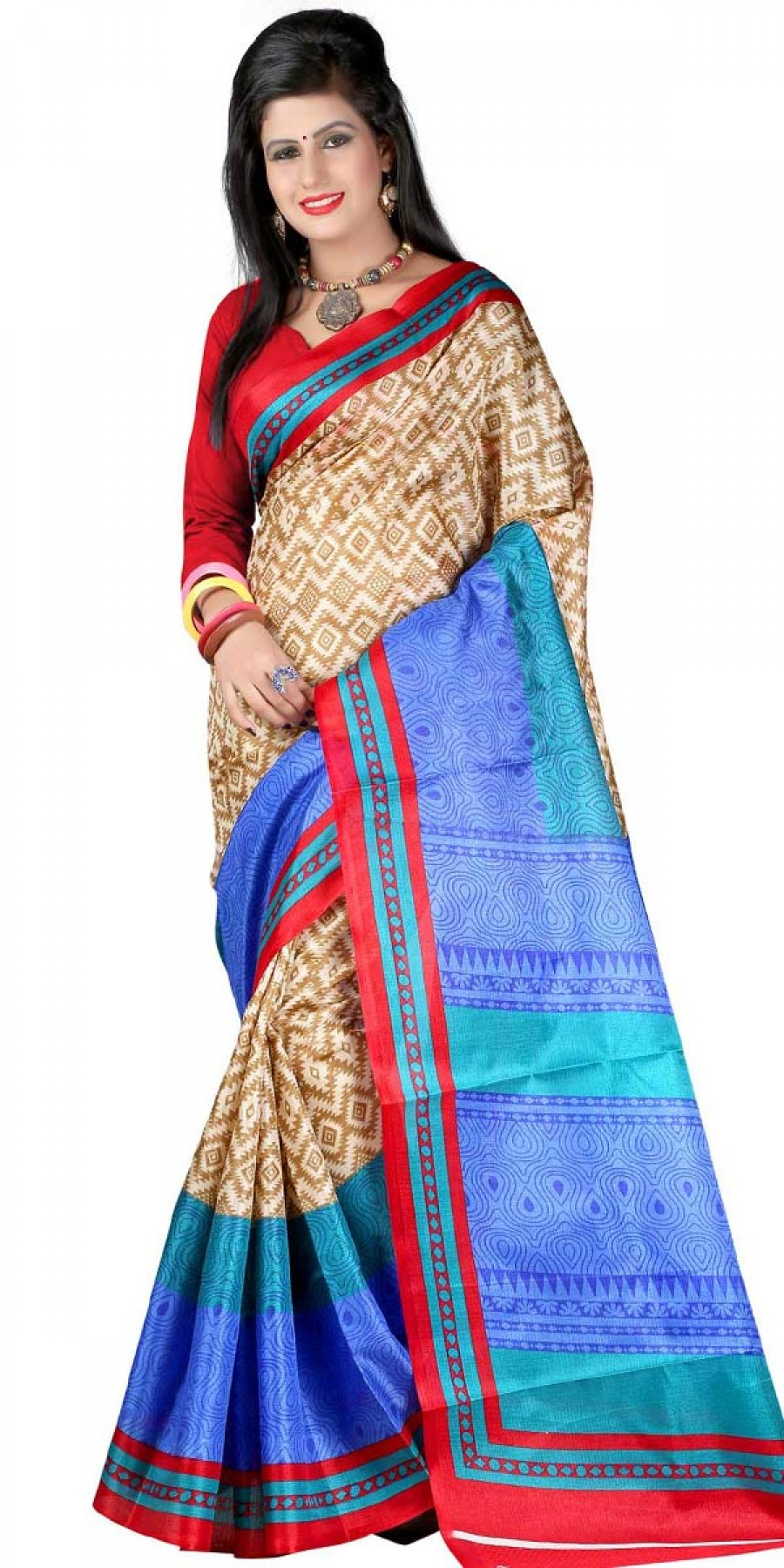 Buy Classy Beige And Red Bhagalpuri Silk Printed Saree With Blouse. Online
