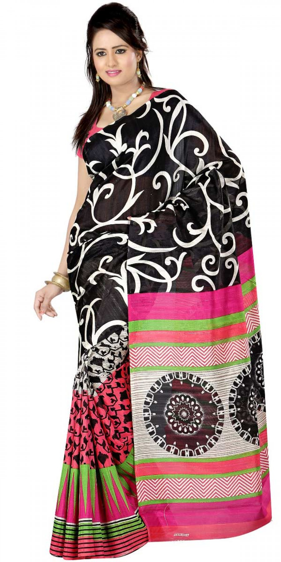 Buy Fabulous Pink And Black Bhagalpuri Silk Printed Saree With Blouse. Online