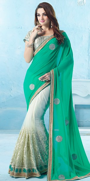 Buy Glorious Green And Off-White Net Saree With Blouse. Online