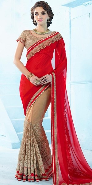 Buy Suprising Red And Brown Net Saree With Blouse. Online