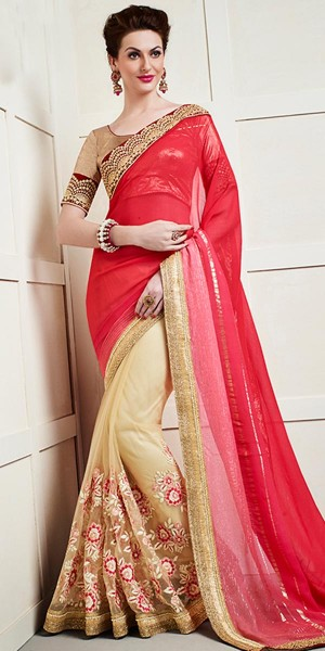 Buy Trendy Red And Cream Net Saree With Blouse. Online