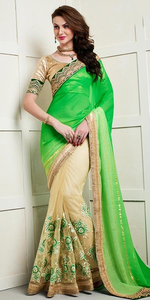 Buy Vibrant Green And Cream Net Saree With Blouse. Online