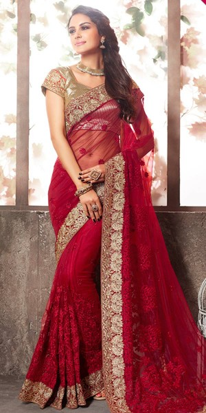 Buy Lavish Red Net Saree With Blouse. Online