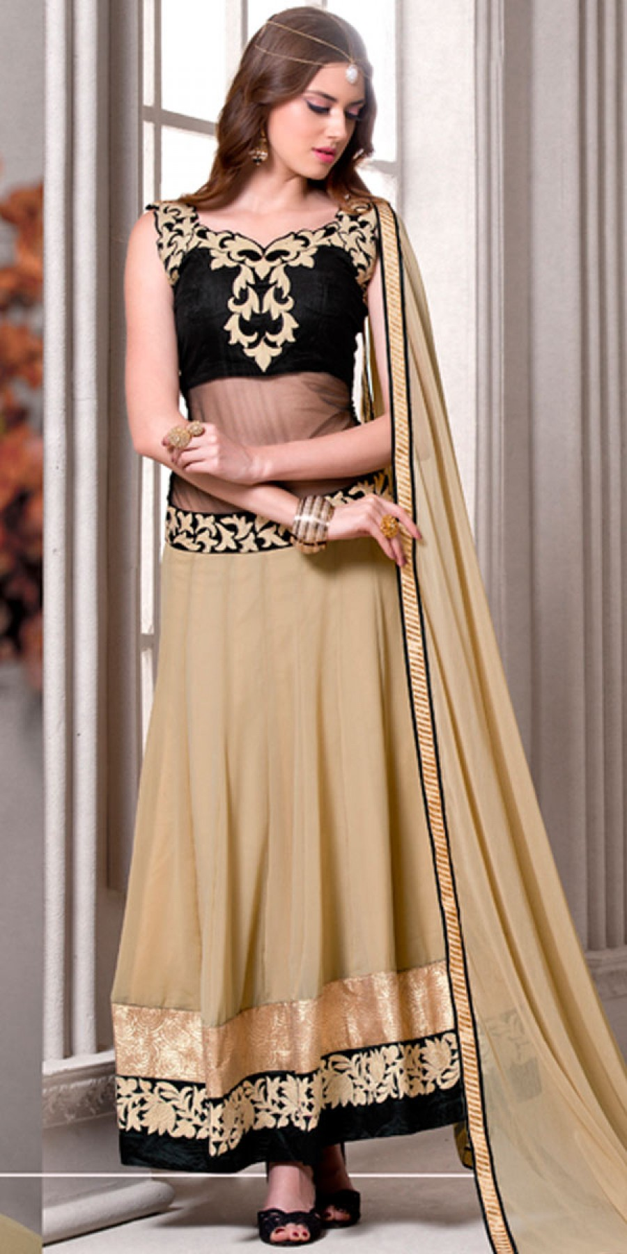 Buy Glorious Cream And Black Georgette Anarkali Suit With Dupatta. Online