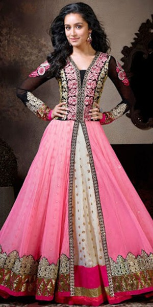 Buy Appealing Georgette Anarkali Suit In Pink And Black Color. Online