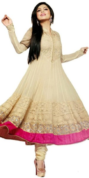 Buy Striking Georgette Anarkali Suit In Cream And Pink Color. Online