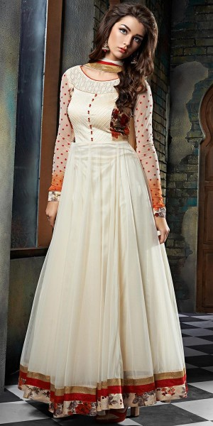 Buy Peaceful Georgette Anarkali Suit In White And Orange Color. Online