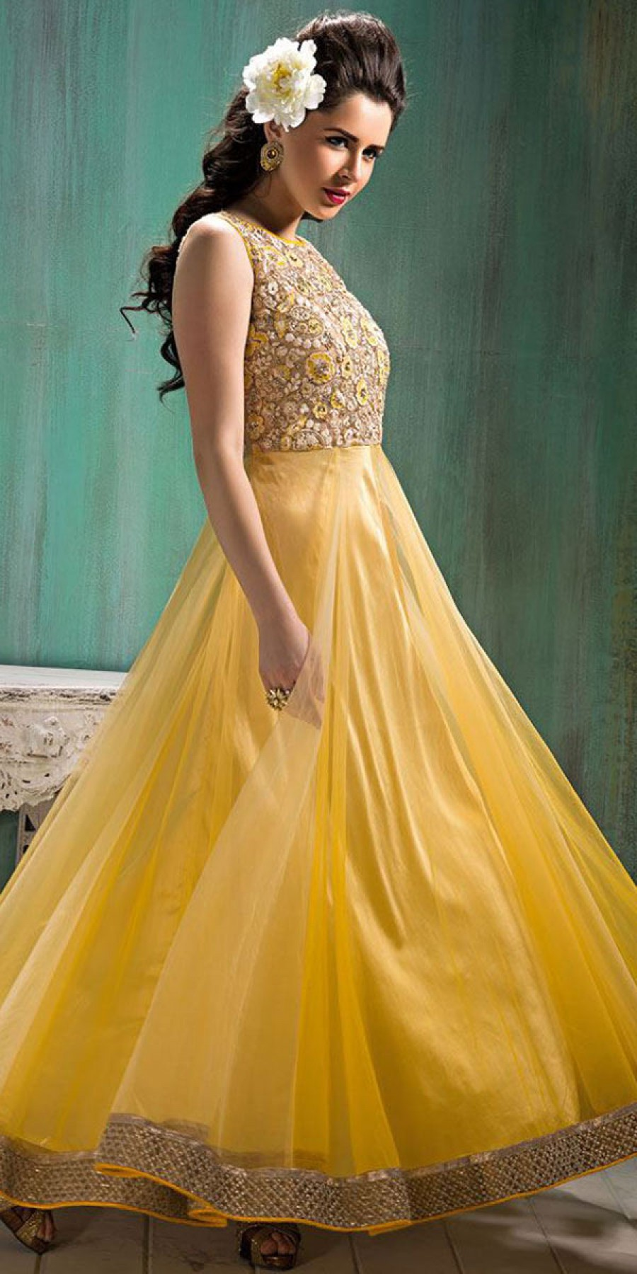 Buy Sparkling Net Anarkali Suit In Yellow Color. Online