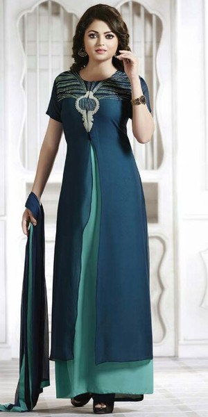 Buy Wondrous Georgette Anarkali Suit In Navy Blue And Green Color. Online