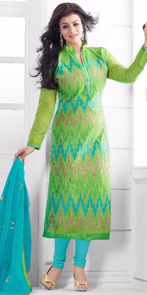 Buy Teriffic Green And Blue Cotton Salwar Suit. Online