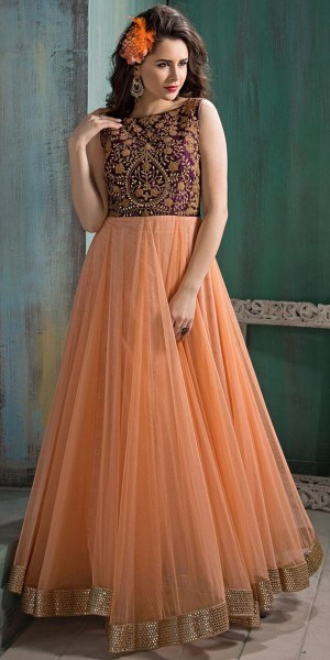 Buy Exotic Orange And Brown Net Anarkali Suit. Online