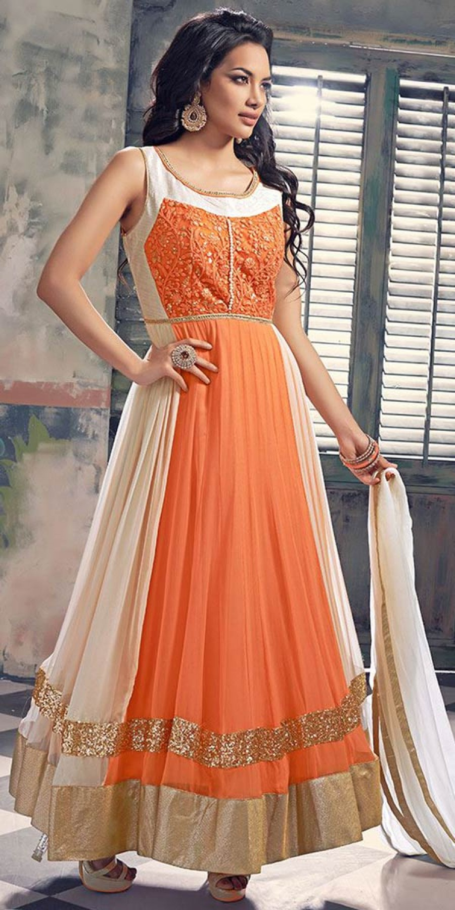 Buy Vivously Orange And White Georgette Anarkali Suit. Online