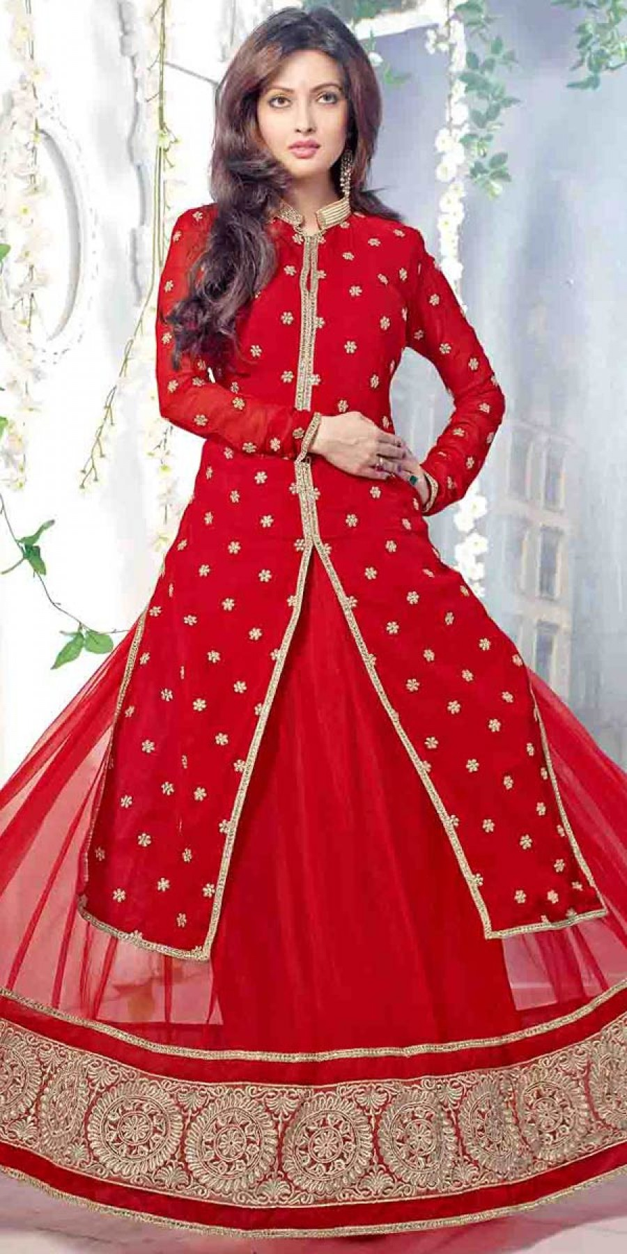 Buy Peaceful Georgette Straight Suit In Red Color. Online