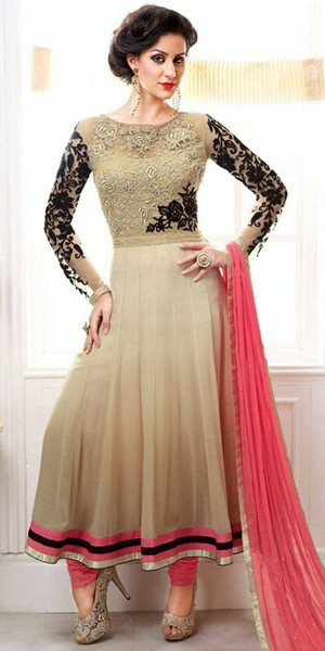 Buy Sparkly Georgette Anarkali Suit In Cream Color. Online