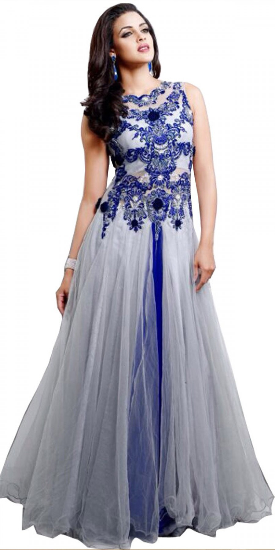 Buy Trendy Net Anarkali Suit In Off-White And Blue Color. Online