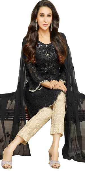 Buy Appealing Black And Cream Georgette Salwar Suit. Online