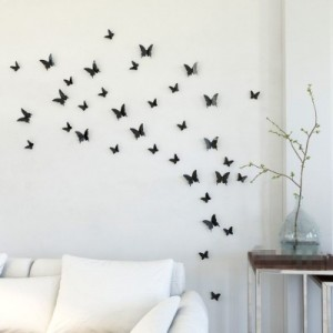 Buy  Karp Small 12 Pcs Removable Magnet 3D Wall Butterfly Plastic Black Sticker Online