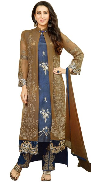 Buy Boldly Georgette Straight Suit In Brown And Blue Color. Online