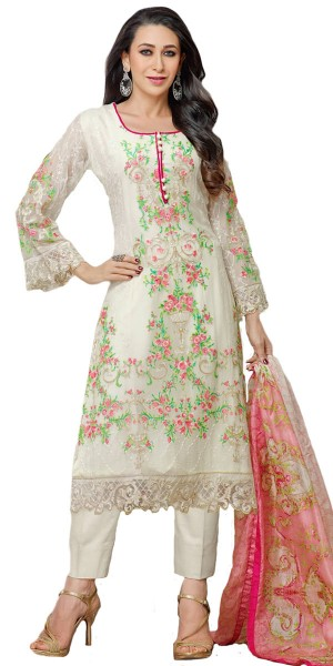 Buy Blushing Georgette Straight Suit In White And Multi-Color. Online