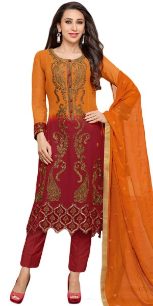 Buy Ecstatic Georgette Straight Suit In Orange And Red Color. Online