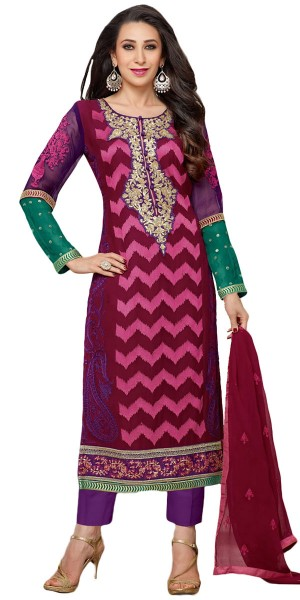 Buy Tranquil Georgette Straight Suit In Purple Color. Online