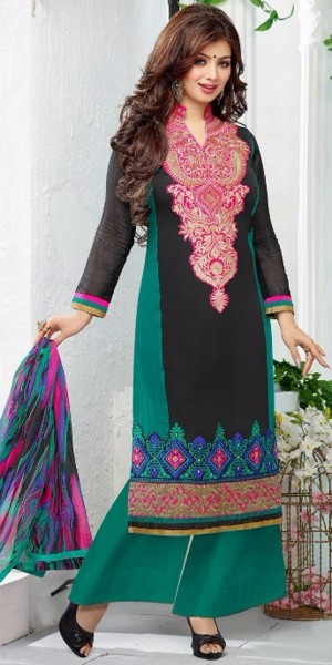 Buy Hearty Georgette Straight Suit In Green And Black Color. Online