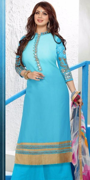 Buy Peaceful Georgette Straight Suit In Blue Color. Online