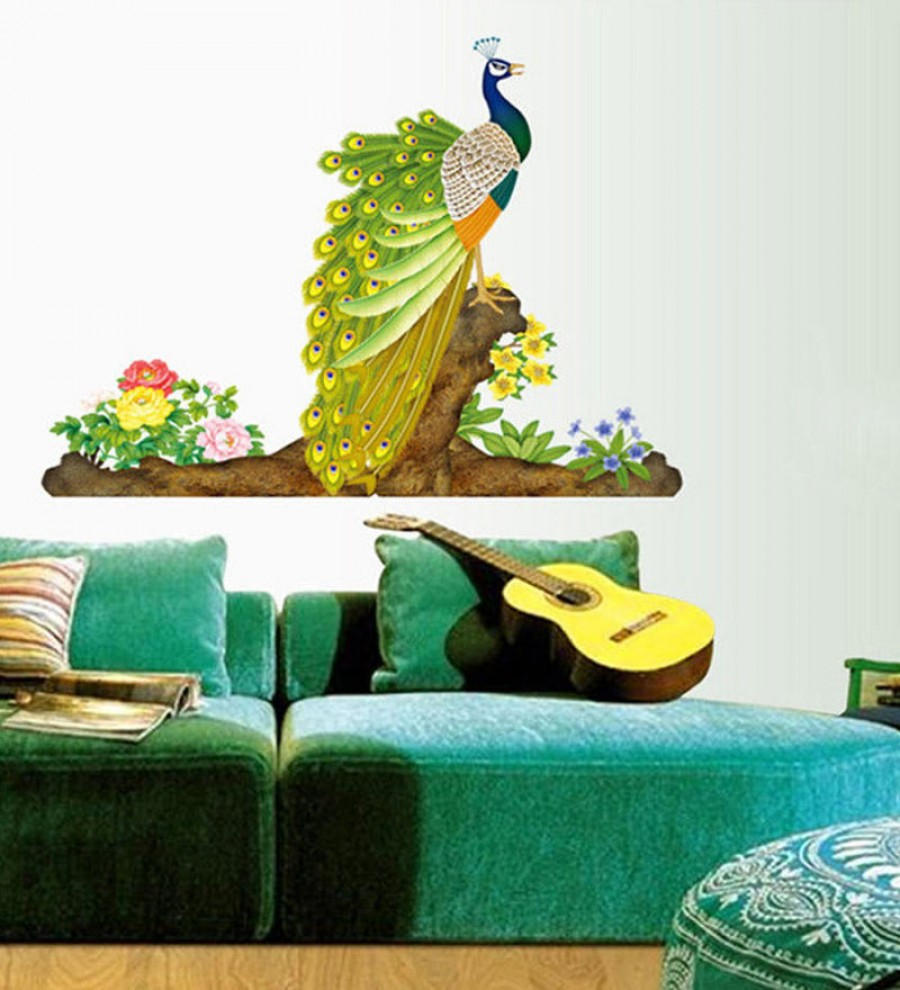 Buy  WallTola PVC Vinyl Colorful Decorative Peacock Wall Sticker  Online