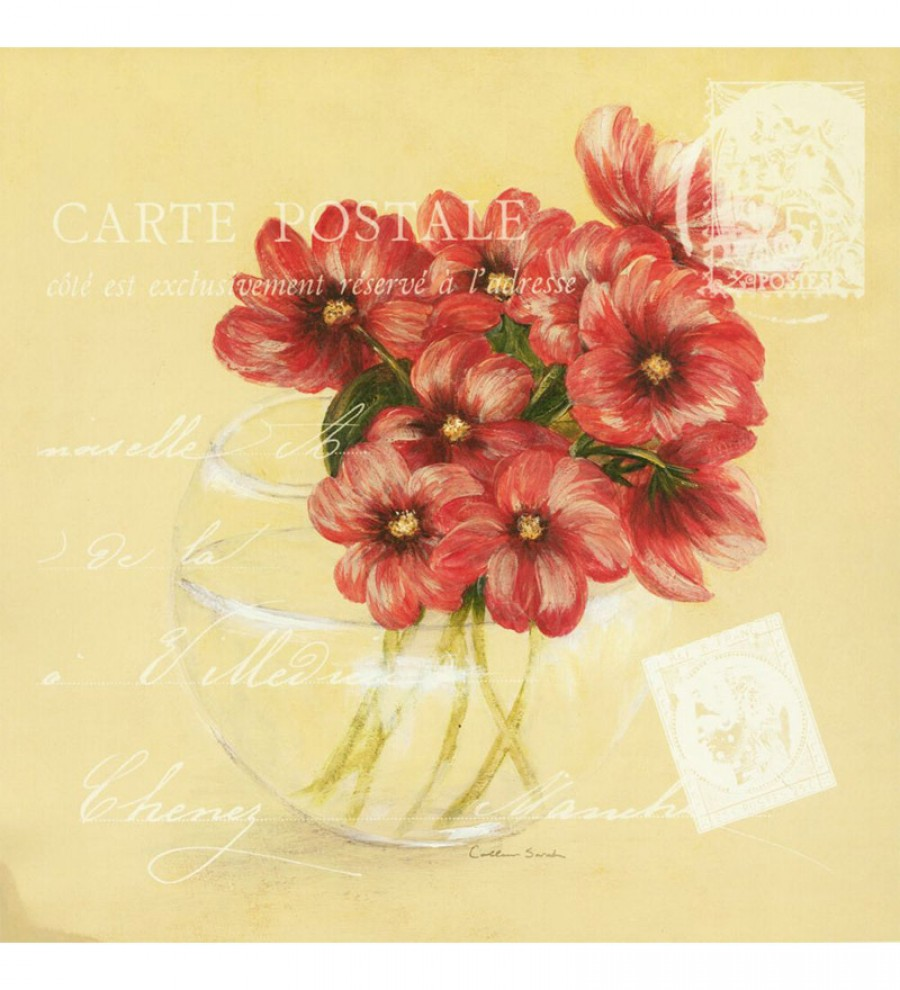 Grab Online | Wall Decor Red Canvas 24 x 24 Inch Flowers In A Vase ...