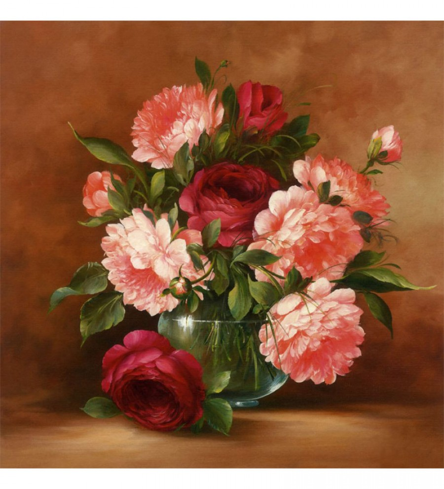 Buy  Wall Decor Canvas 24 x 24 Inch Flowers In A Vase Framed Digital Art Print Online