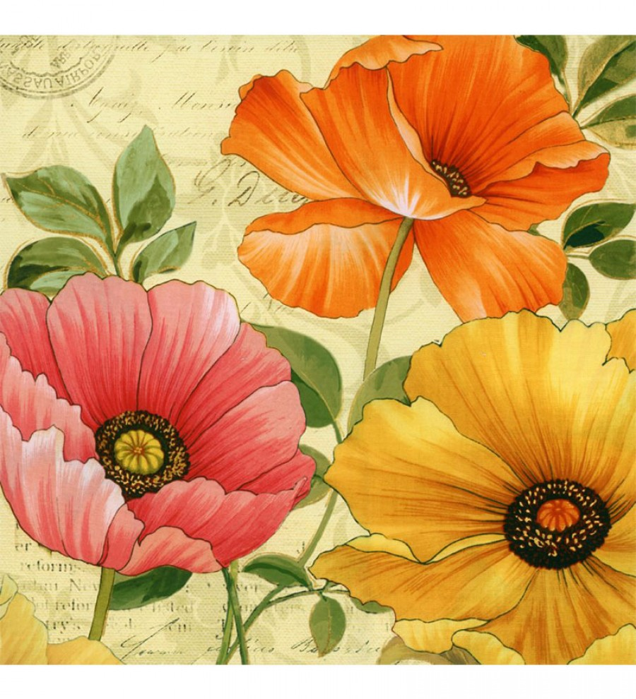 Buy Exclusive Wall Decor Canvas 24 x 24 Inch Three Flowers Postcard ...