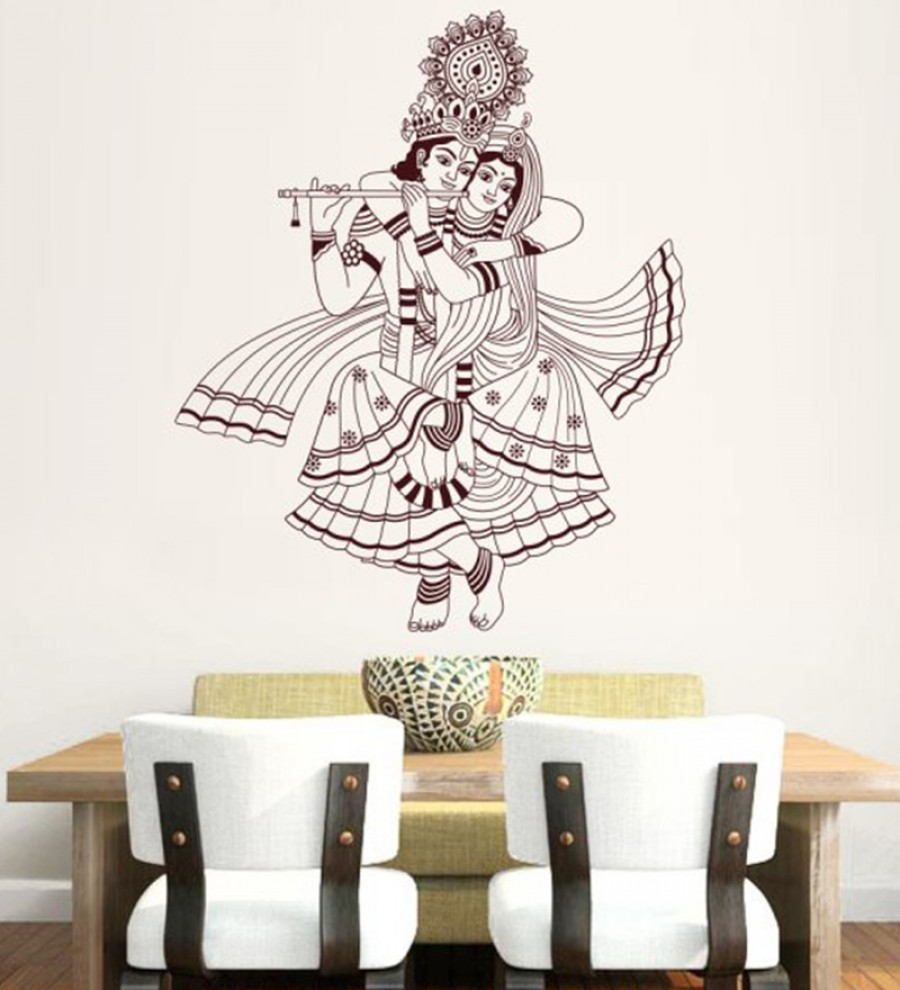 Wall stickers radha krishna - Buy Hoopoe Decor Vinyl Radhakrishna Wall Decal Online