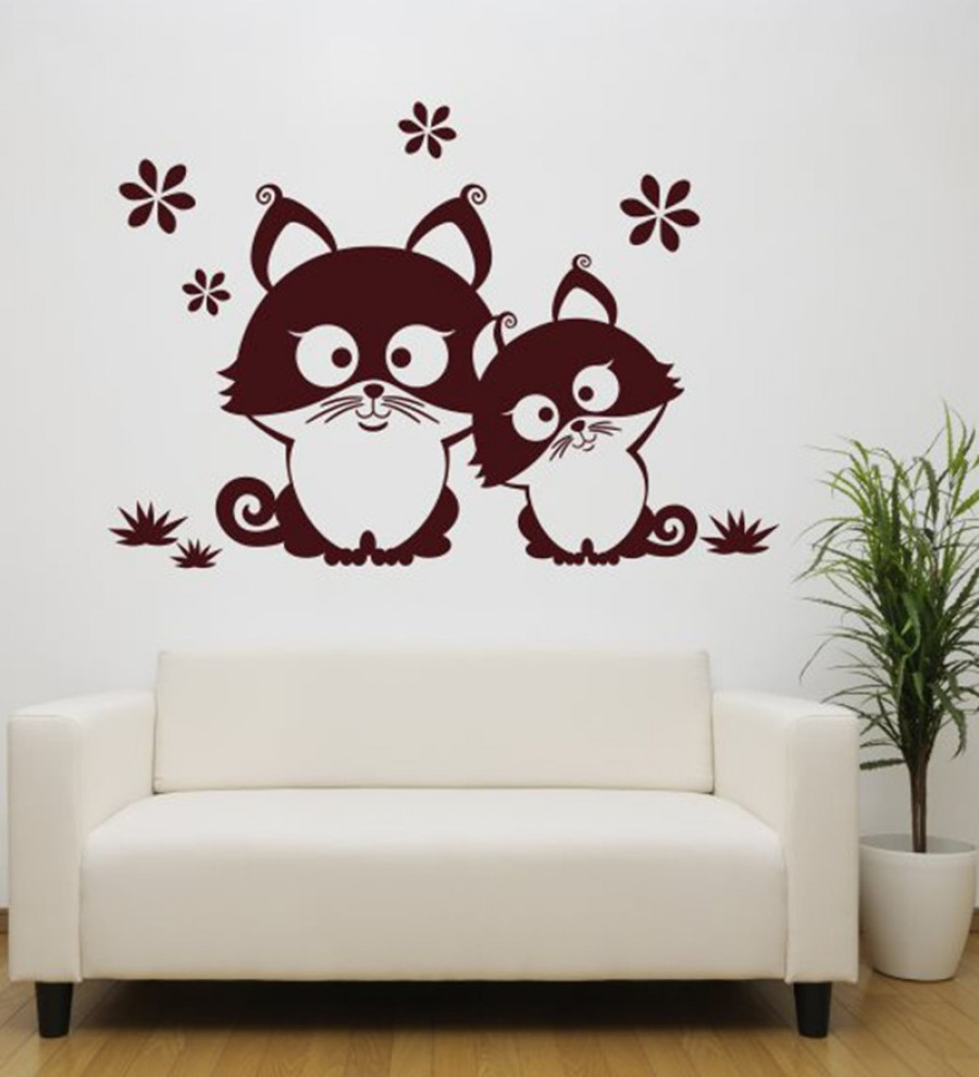 Buy  Hoopoe Decor Brown Vinyl Two Cats Sitting on the Grass Wall Decal Online