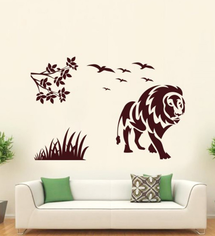 Buy  Hoopoe Decor Brown Vinyl Lion with Birds Wall Decal Online