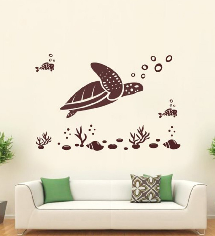 Buy  Hoopoe Decor Brown Vinyl Tortoise & Fish Under Water Wall Decal Online