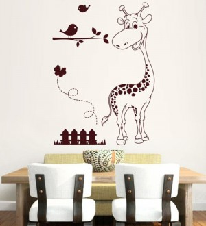 Buy  Hoopoe Decor Brown Vinyl Zebra with Birds Wall Decal Online