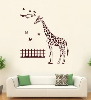 Buy  Hoopoe Decor Brown Vinyl Zebra with Butterfly Wall Decal Online