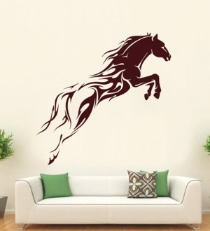 Buy  Hoopoe Decor Brown Vinyl Running Horse Wall Dec Online