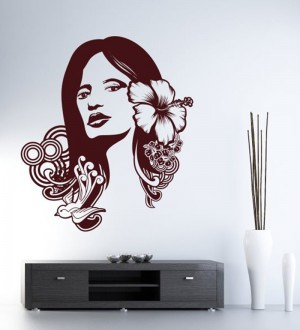 Buy  Hoopoe Decor Brown Vinyl Beautiful Lady Wall Decal Online