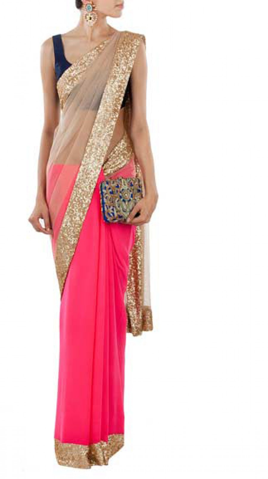Buy Bollywood Designer Pink Half Net Half Georgette Saree Online
