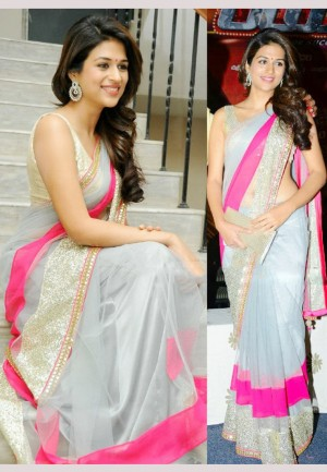 Buy Shraddha Das Gray Bollywood Replica Saree Online