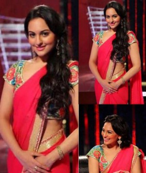 Buy Sonakshi Sinha Pink Designer Blouse Bollywood Replica Saree Online