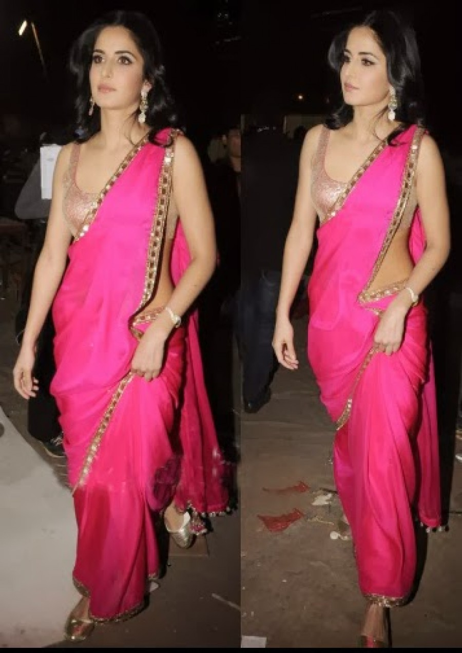 Buy Katrina Kaif In Pink Screen Bollywood Replica Saree Online