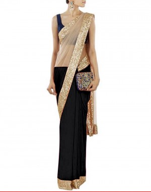 Buy Bollywood Designer Black Half Net Half Georgette Saree Online