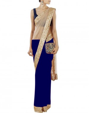 Buy Bollywood Designer Blue Half Net Half Georgette Saree Online