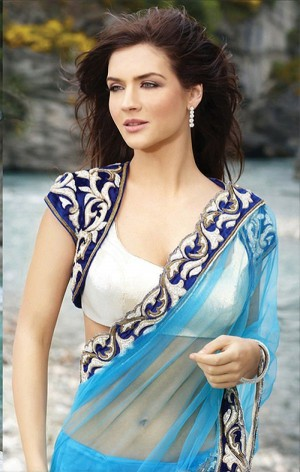 Buy Seasons Blue Designer Replica Saree Online