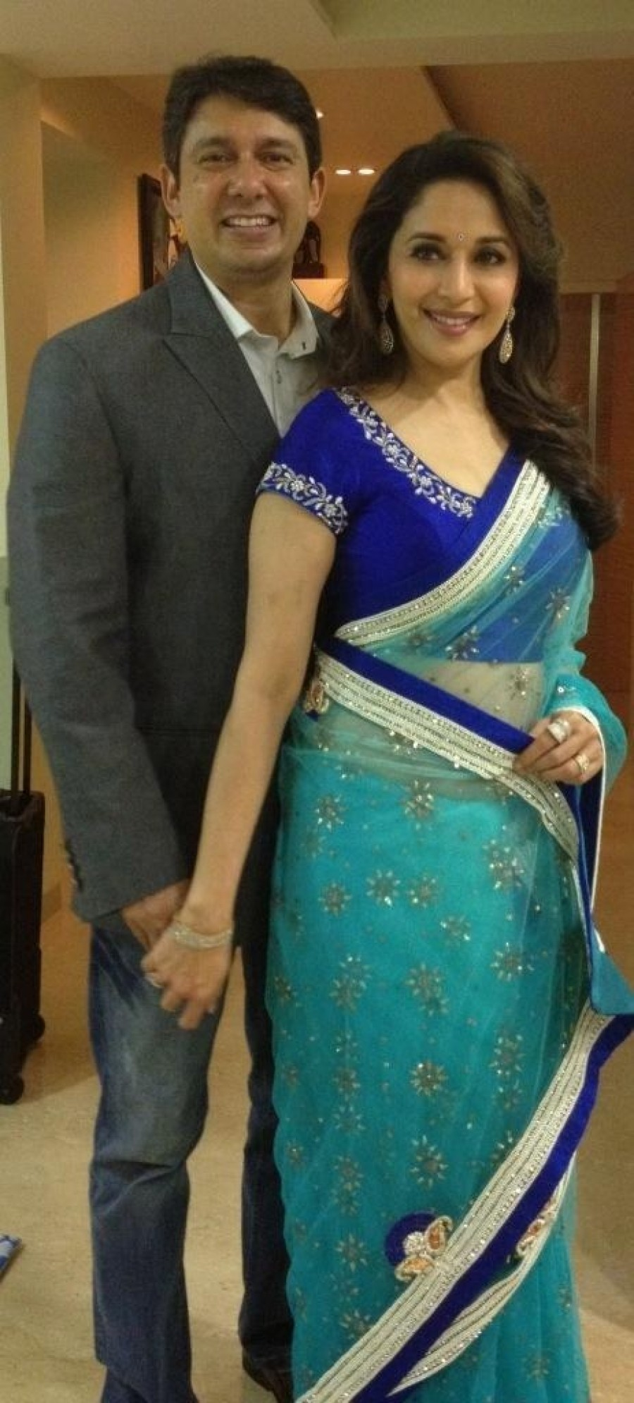 Buy Madhuri Dixit in Turquoise Bollywood Replica Saree Online