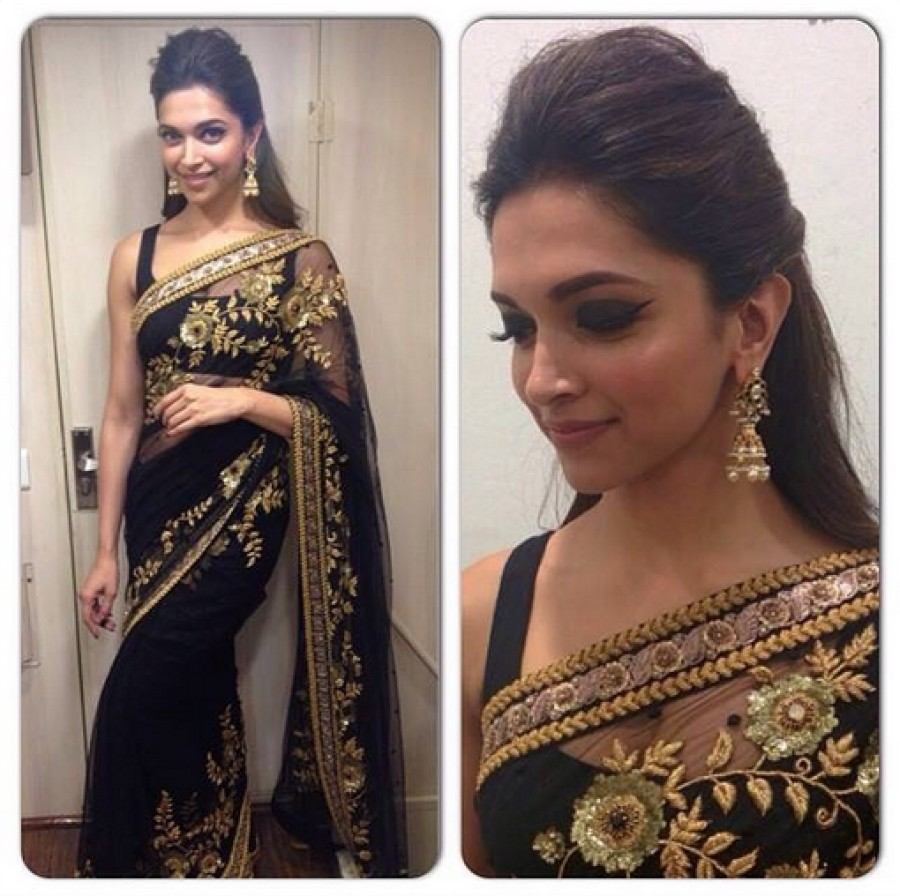 Shop For Deepika Padukone Black Designer Saree 517855